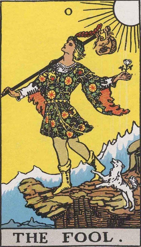 『愚者』大アルカナ0番。「夢想・愚行・極端・熱狂」を意味するタロットカード。
