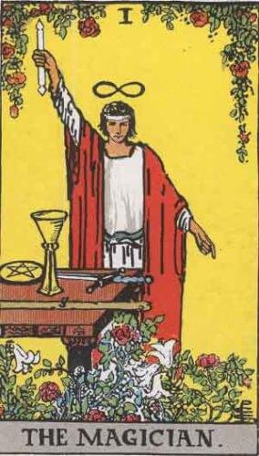『魔術師』大アルカナ1番。「意志・手腕・外交」を意味するタロットカード。