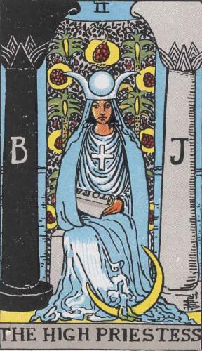 『女教皇』大アルカナ2番。「秘密・神秘・英知」を意味するタロットカード。