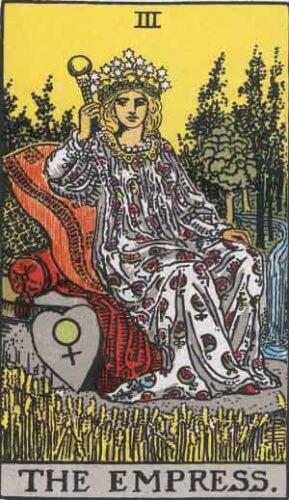 『女帝』大アルカナ3番。「実り・行動・月日の長さ・未知」を意味するタロットカード。