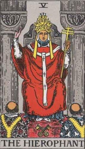 『教皇』大アルカナ5番。「信条・社会性・恵みと有徳」を意味するタロットカード。