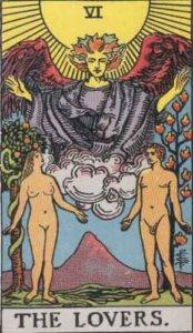 『恋人』大アルカナ6番。「魅力・愛美」を意味するタロットカード。