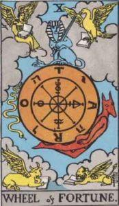 『運命の輪』大アルカナ10番。「幸運・転機・向上」を意味するタロットカード。
