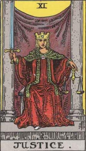 『正義』大アルカナ11番。「平等・正しさ・正当な判決」を意味するタロットカード。