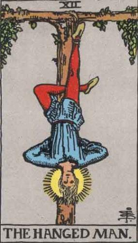 『吊された男』大アルカナ12番。「英知・慎重・試練・直観」を意味するタロットカード。
