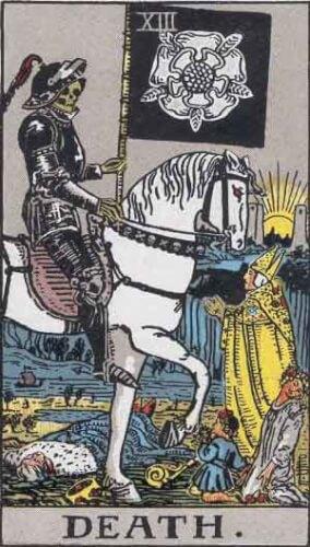 『死神』大アルカナ13番。「停止・損失・死と再生」を意味するタロットカード。