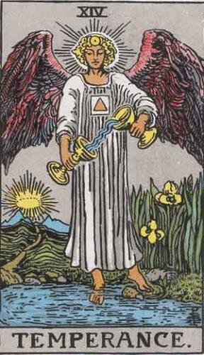 『節制』大アルカナ14番。「調整・中庸・倹約・管理」を意味するタロットカード。