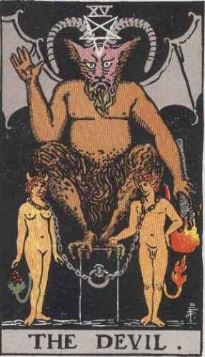 『悪魔』大アルカナ15番。「暴力・激烈・宿命・黒魔術」を意味するタロットカード。