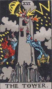 『塔』大アルカナ16番。「悲嘆・災難・不名誉・転落」を意味するタロットカード。