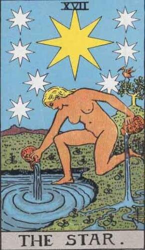 『星』大アルカナ17番。「希望と吉兆・瞑想・放棄」を意味するタロットカード。