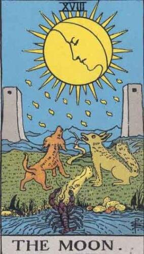 『月』大アルカナ18番。「隠れた敵・幻想・欺瞞・失敗」を意味するタロットカード。