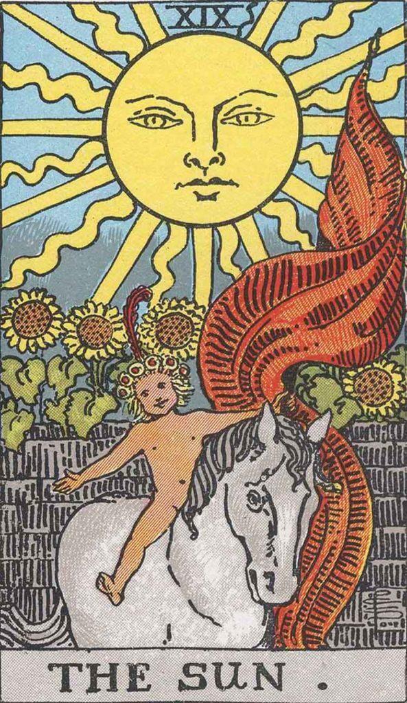 『太陽』大アルカナ19番。「物質的な幸福・幸運な結婚」を意味するタロットカード。