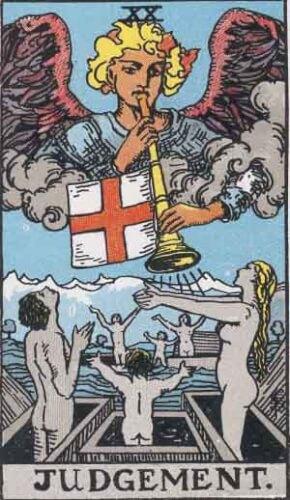 『審判』大アルカナ20番。「復活・位置の変化・更新」を意味するタロットカード。