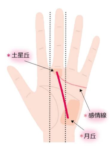 運命線と感情線が合流して中指に向かっている