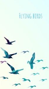 アーティスティックなおしゃれな鳥の群れに「FLYING BIRDS」の文字が入ったイラスト待受