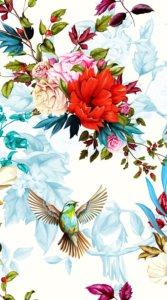 赤やピンク等の鮮やかな色合いの薔薇やはばたく鳥を芸術的に描いたイラスト待受