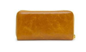 ブラウンの牛革長財布