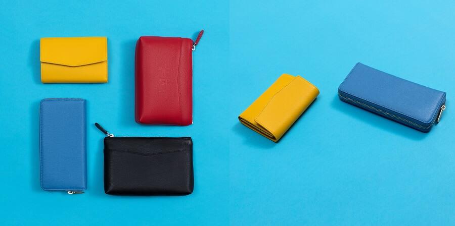 青や赤、黄色のカラフルな財布