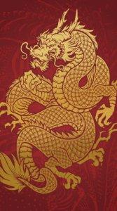 赤の背景に金色で細かく描かれた龍の待受