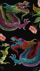 黒背景に鮮やかな刺繍で施された2匹の龍の待受