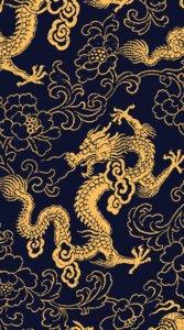 黒背景に金色で龍と花が描かれた待受