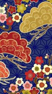 松と梅(もしくは桜)の花を和風に描いたイラスト待受