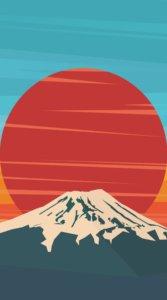 富士山と太陽&空をポップ&和モダンな雰囲気に描いたイラスト待受