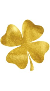 金色をした4つ葉のクローバーのイラスト待受
