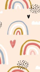 ハートと虹をポップに描いたイラスト待受