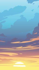 夕日が沈むその瞬間を描いたイラスト待受
