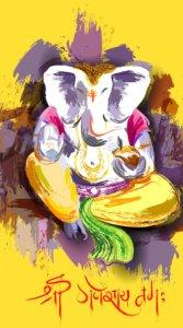 黄色をメインに殴り書き風に描いたインパクトのあるガネーシャのイラスト待受