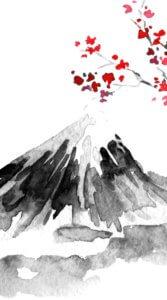 富士山と赤い花をつけた樹木を水墨画風に描いたイラスト待受