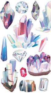 カラフルながら淡い色合いで様々な形の水晶を描いたおしゃれなイラスト待受