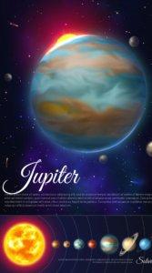 惑星と太陽の距離や立体的な木星を表現した待受