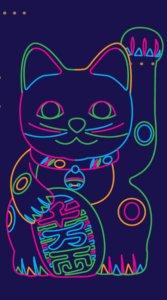 ポップ&カラフルな色合いの招き猫のイラスト待受