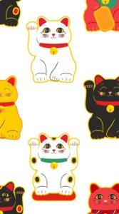 ふんわり&キュートな雰囲気にカラフルな色合いで描かれた表情豊かな招き猫たちの待受
