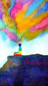 瞑想中の人から出る波動をカラフルかつ水彩画風に優しく描いたイラスト待受