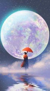 月(満月)を目の前にして海の上に立つ女性を描いた神秘的なイラスト待受