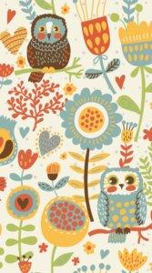 ふくろうと花や植物をポップにかわいらしく描いたイラスト待受
