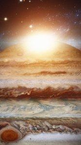 太陽と木星の断面を写した待受