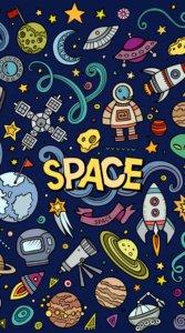 惑星やロケットなど宇宙に関するアイテムをポップに描いたイラスト待受