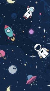 ロケットや宇宙飛行士などかわいくてポップなイラストをちりばめた宇宙デザインの待受