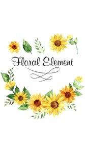 ひまわりのイラストとFLOWER ELEMENTの文字が入ったロゴ
