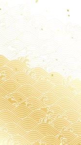 金色のグラデーションで波の動く様子を描いた和柄のイラスト待受