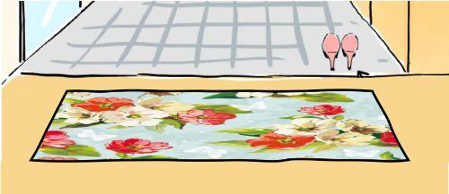 花柄の少し派手めな玄関マット