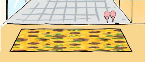 黄色いひまわりの柄の明るい玄関マット