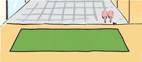 グリーンの玄関マット