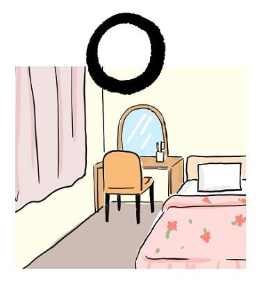 ドレッサーの鏡が寝鏡にならないようにするのが風水的にOKな配置