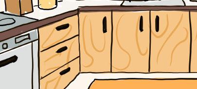 ベージュの木目調キッチン