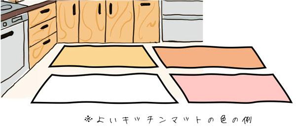 良いキッチンマットの色は白色か暖色
